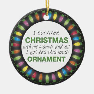 Christmas Survival Round Ceramic Decoration