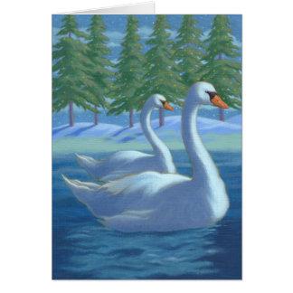 Christmas swans greeting card