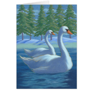 Christmas swans greeting card