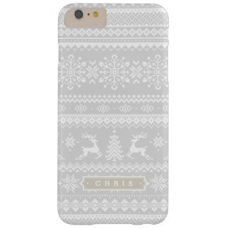 Christmas sweater grey fair isle pattern monogram barely there iPhone 6 plus case