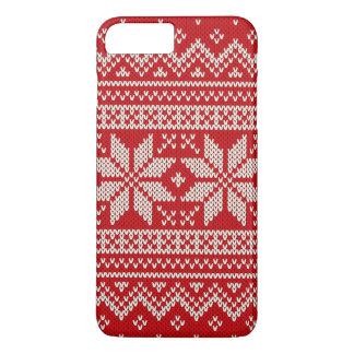 Christmas Sweater Knitting Pattern - RED iPhone 8 Plus/7 Plus Case