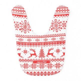 Christmas pattern monogram bib