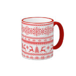 Christmas sweater red fair isle pattern monogram ringer mug