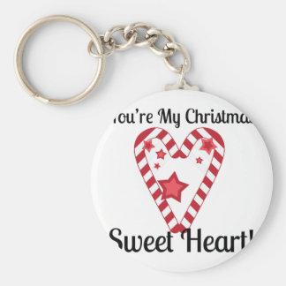 Christmas Sweet Heart Basic Round Button Key Ring