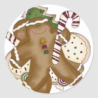 christmas sweets and gingerbread classic round sticker