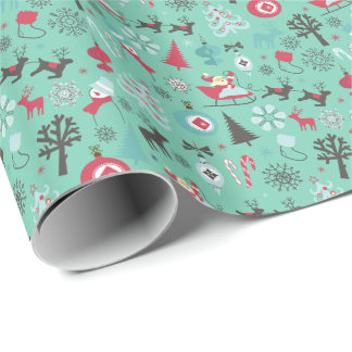Christmas Symbol Pattern Mint Green Background Wrapping Paper