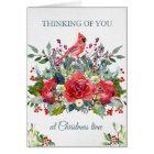 Christmas Sympathy Card   Bouquet & Cardinal