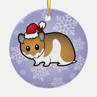 Christmas Syrian Hamster Round Ceramic Decoration