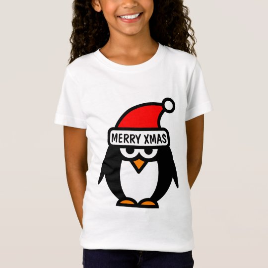 Christmas t shirt with funny penguin cartoon