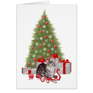 Christmas Tabby at the Tree Greeting Card
