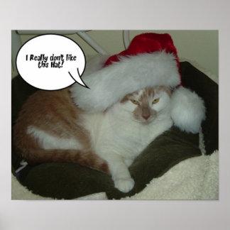 Christmas Tabby Cat Poster