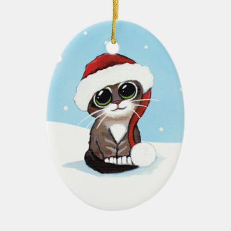 Christmas Tabby Kitten in a Santa Hat Christmas Ornament