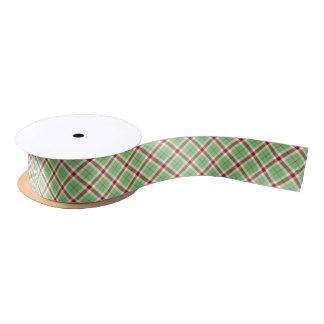 Christmas Tartan Ribbon Red & Green Plaid Pattern Satin Ribbon