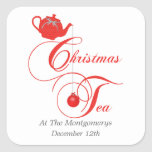 Christmas Tea Party, Red Lace Square Sticker