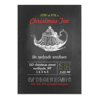 Christmas Tea Party Vintage Chalkboard Teapot Red Card