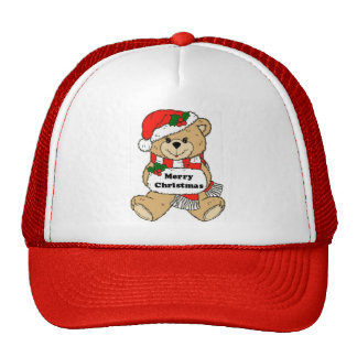 Christmas Teddy Bear and Message Trucker Hat