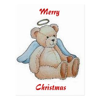 Christmas Teddy Bear Angel Postcard