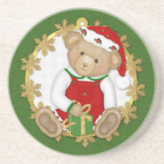 Christmas Teddy Bear - Boy Beverage Coasters