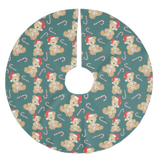 Christmas Teddy Bear Brushed Polyester Tree Skirt