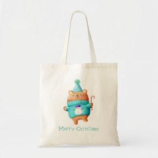 Christmas Teddy Bear Budget Tote Bag