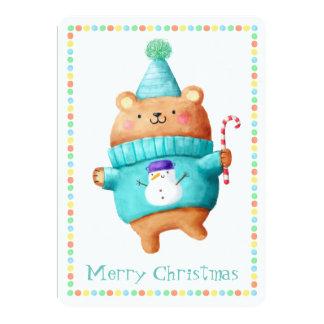 Christmas Teddy Bear Card 13 Cm X 18 Cm Invitation Card