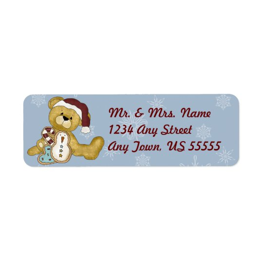 Christmas Teddy Bear Holiday Address Labels