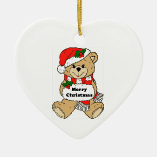 Christmas Teddy Bear Message Ceramic Heart Decoration