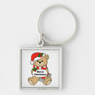 Christmas Teddy Bear Message Silver-Colored Square Key Ring