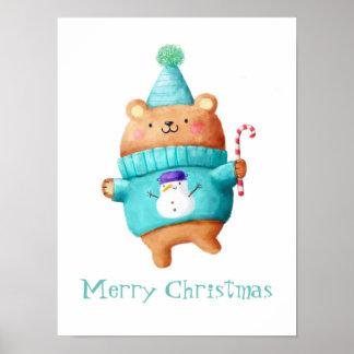 Christmas Teddy Bear Poster