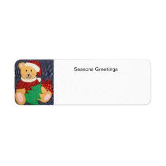 Christmas Teddy Bear Return Address Label