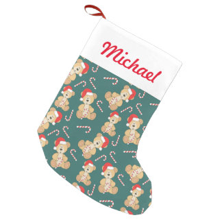 Christmas Teddy Bear Small Christmas Stocking