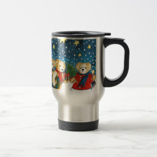 CHRISTMAS TEDDY BEAR WITH GIFTS STAINLESS STEEL TRAVEL MUG