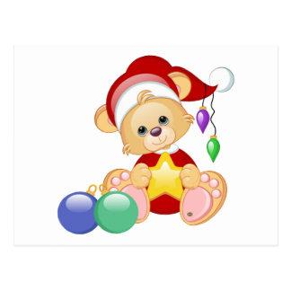 Christmas Teddy Bear with Star Postcard