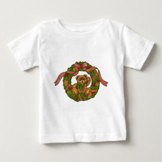 Christmas Teddy Bear Wreath Baby T-Shirt