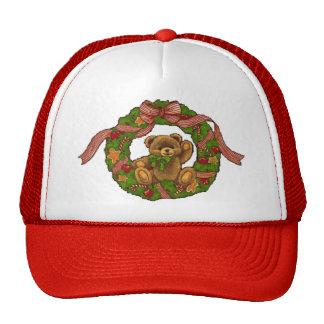 Christmas Teddy Bear Wreath Mesh Hats