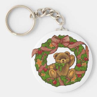 Christmas Teddy Bear Wreath Key Chains