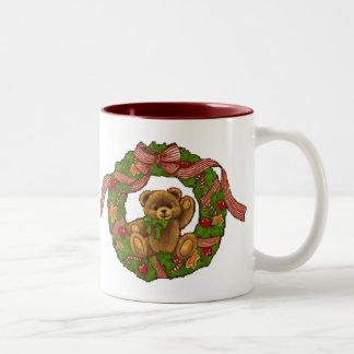 Christmas Teddy Bear Wreath Coffee Mugs