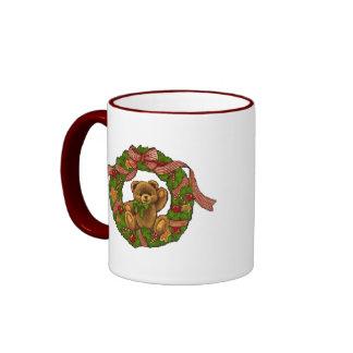 Christmas Teddy Bear Wreath Coffee Mug