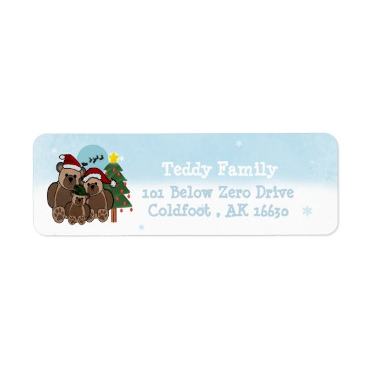 Christmas Teddys Return Address Label