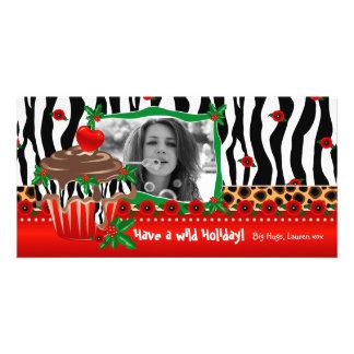 Christmas Template Cute Cupcake Zebra Leopard 2 Customized Photo Card