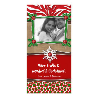Christmas Template Snowflake Zebra Leopard Customised Photo Card