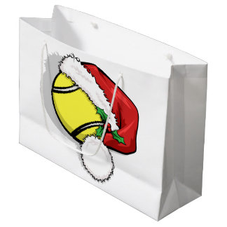 Christmas Tennis Santa Cap Large Gift Bag