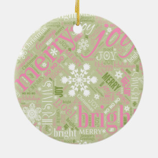 Christmas Text and Snowflake Pattern Green ID257 Round Ceramic Decoration