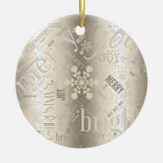 Christmas Text and Snowflake Pattern ID257 Round Ceramic Decoration