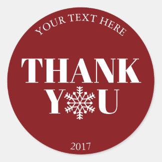 Christmas Thank You Snowflake Red White Classic Round Sticker