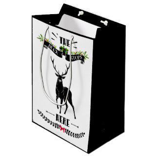 Christmas The Buck Stops Here Deer Medium Gift Bag