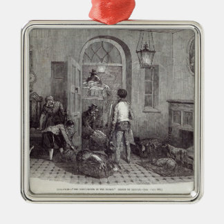 "Christmas: ""The Compliments of the Season"" Silver-Colored Square Decoration"