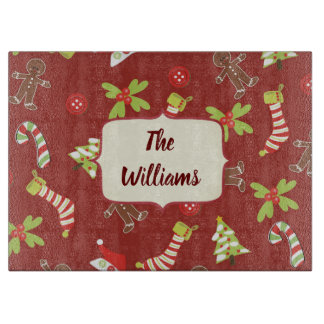 Christmas Theme Red and Green Cutting Board