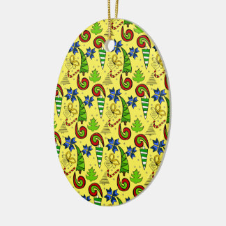 Christmas themed doodles design, blue and yellow christmas ornament