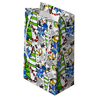 Christmas themed doodles design, kid's drawnings s small gift bag
